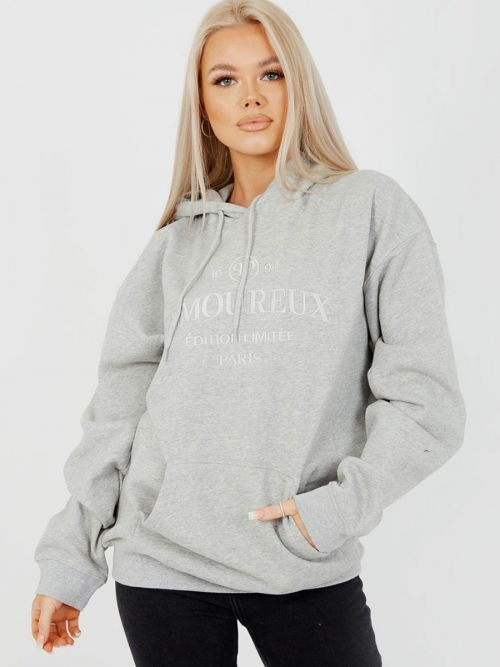 Shannon Embroidered Amoureux Fleeced Hoodie In Grey