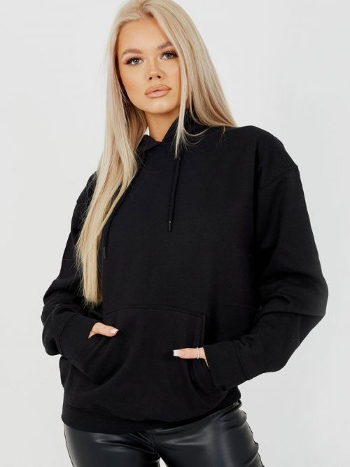 Ciara Plain Fleeced Hoodie In Black
