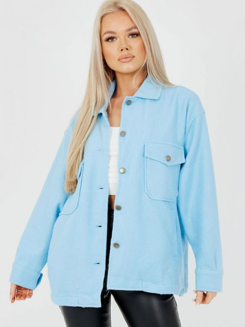 Leah Plain Classic Thick Shacket In Blue