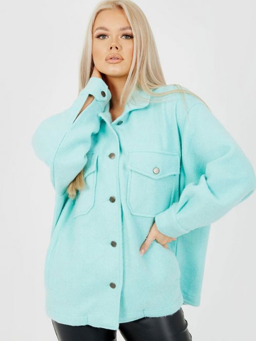 Leah Plain Classic Thick Shacket In Mint