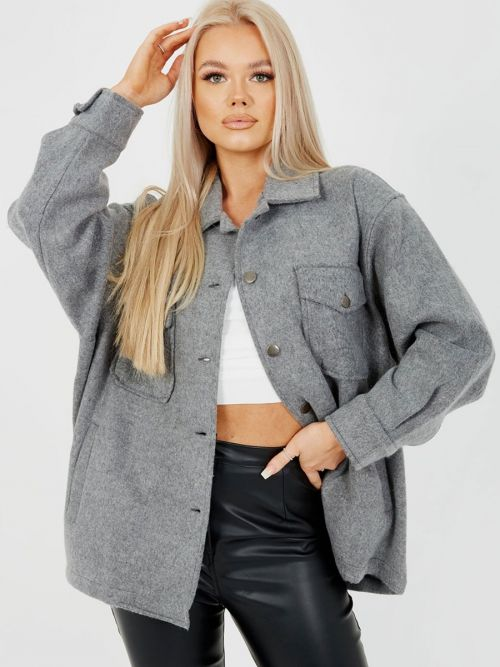 Leah Plain Classic Thick Shacket In Charcoal