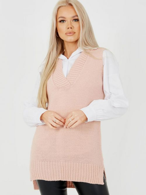 Elena Knitted Jumper Shirt Dress In Pink