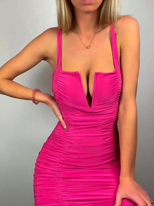 Louise V-Bar Slinky Ruched Dress in Fuchsia