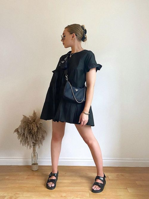 Cherelle Frill Detail Tiered Smock Dress In Black
