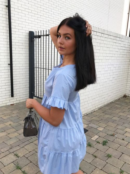 Cherelle Frill Detail Tiered Smock Dress In Blue