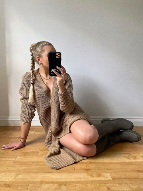 Leeka Longline Knitted Open Cardigan In Mocha