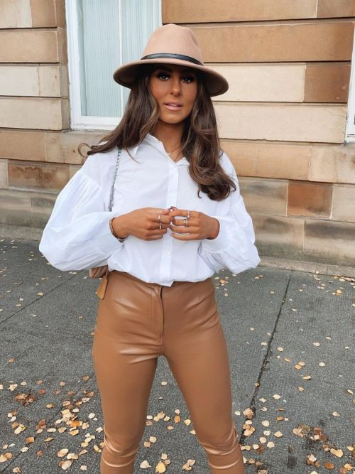 Arlene High Waist PU Trouser In Camel