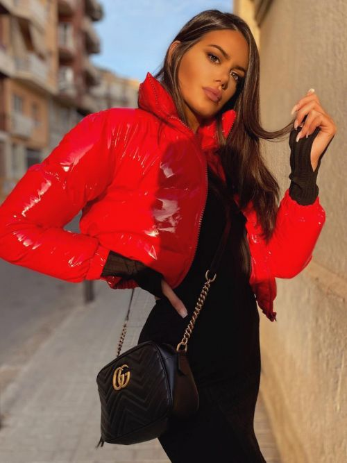 Emilia PVC Leather Cropped Puffer Jacket In Red