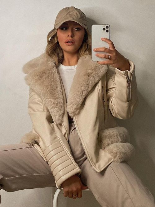 Estella Faux Fur Belted PU Jacket In Stone