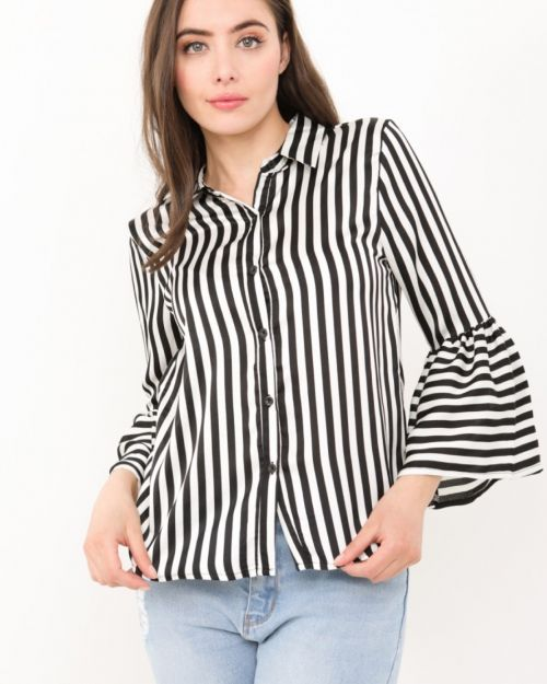 Emersyn Bell Sleeve Satin Blouse Is Monochrome Black & White