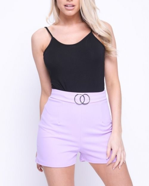 Nina Double Circle Belted Shorts In Lilac