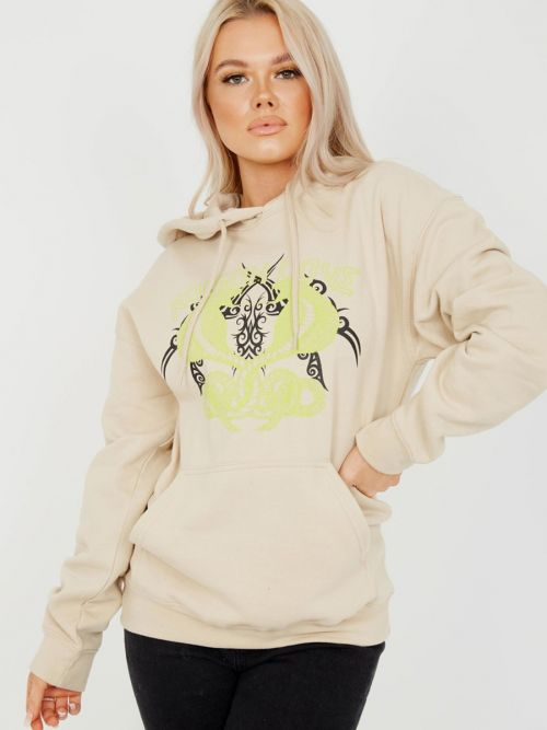 Claire Poison Love Graphic Fleeced Hoodie In Stone