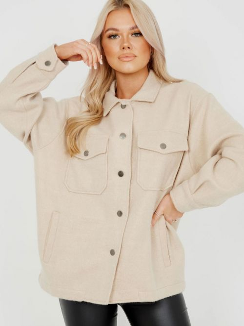 Leah Plain Classic Thick Shacket In Stone