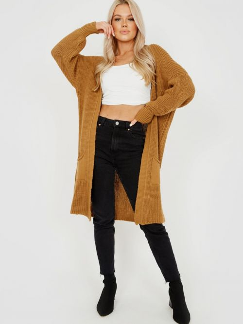 Mollie Mid-Length Knitted Open Cardigan In Camel