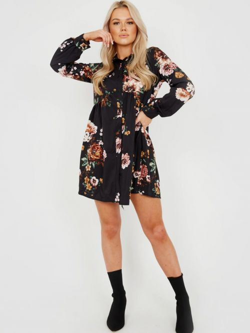 Leanne Oversized Floral Print Shirt Dress In Black