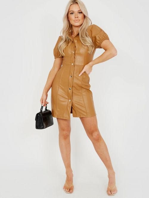 Patricia Button Front PU Dress In Camel