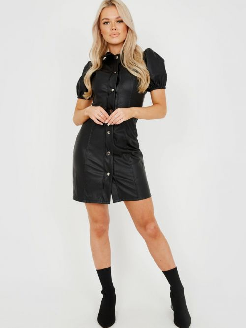 Patricia Button Front PU Dress In Black