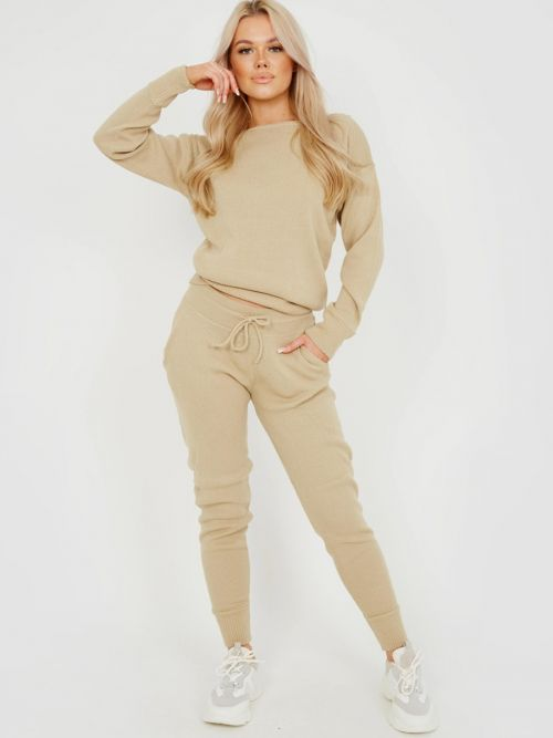 Adriana Scoop Neck Knitted Lounge Co-ord In Stone