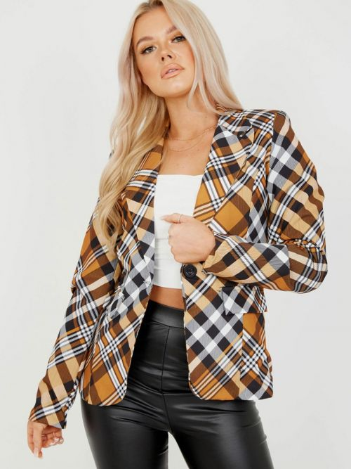 Judith Brown Check One Button Blazer