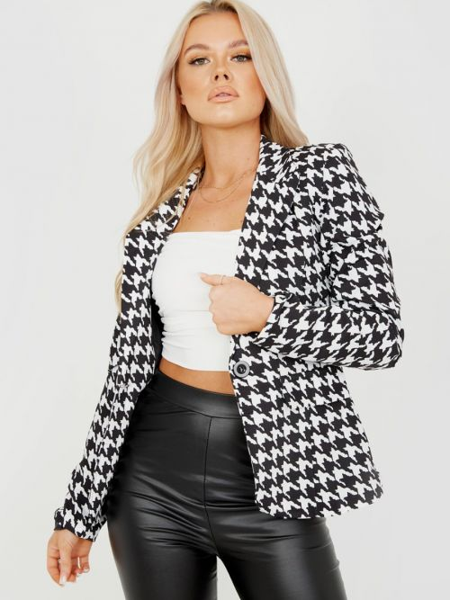 Catlin Dogtooth Print One Button Blazer In Monochrome