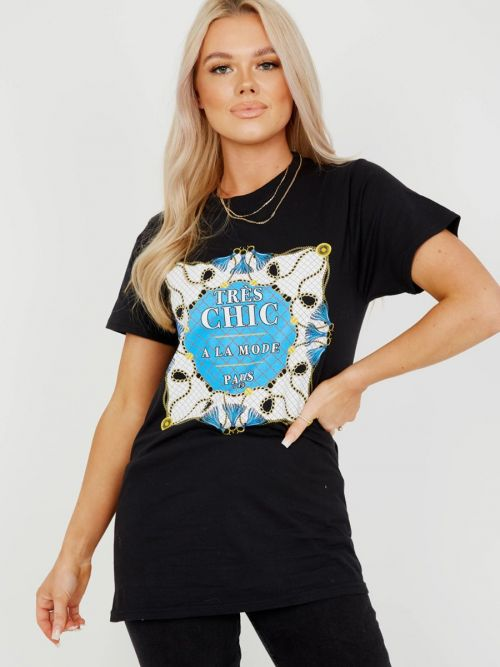 Ritta Tres Chic Graphic Printed T-Shirt In Black
