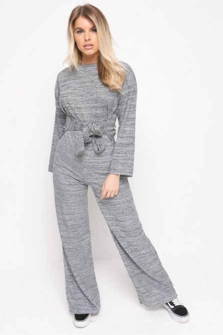 Hayli Ribbed Thin Knit Jumpsuit In Grey