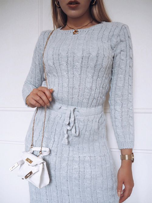 Leora Cable Knit Drawstring Waist Dress In Grey