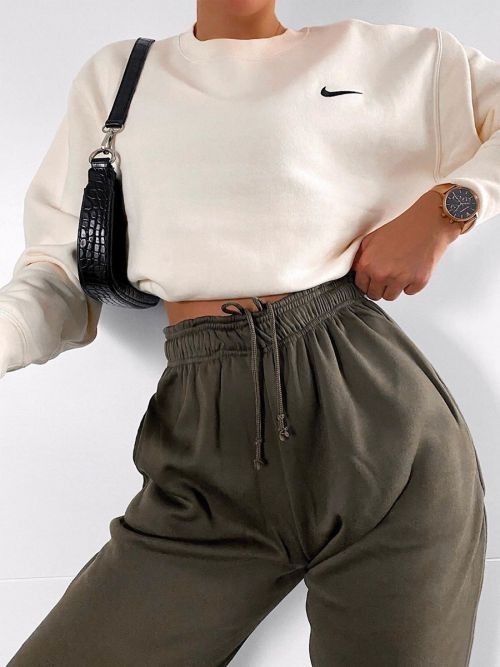 Barbara Oversized Fleece Joggers In Khaki