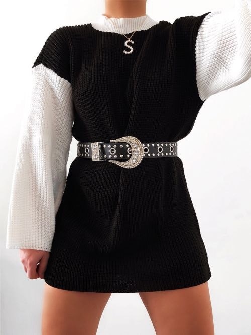 Kim Contrast Sleeve Knitted Jumper Dress In Black