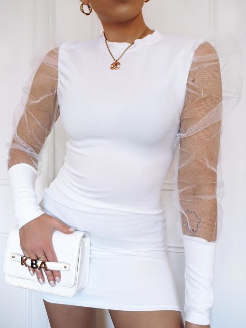 Alia Fishnet Sleeve Bodycon Dress In White