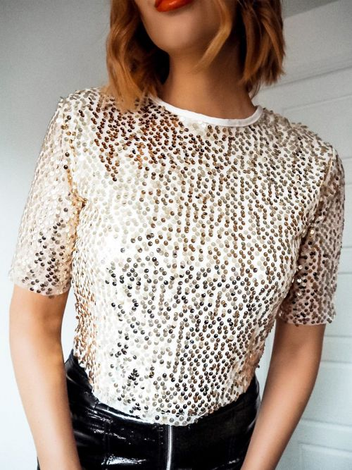 Christina Sequinned Mesh Top In Champagne