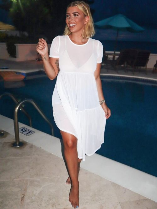 *Olivia Buckland* Demelza Mesh Smock Dress In White