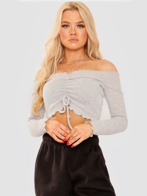 Lois Ruched Frill Ribbed Bardot Crop Top In Grey