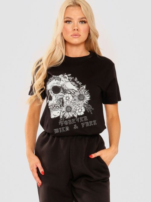 Esther Floral Skull Graphic Printed T-Shirt In Black