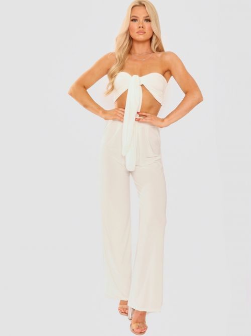 Madison Slinky Tie Knot Bralet & Trouser Co-ord In Cream