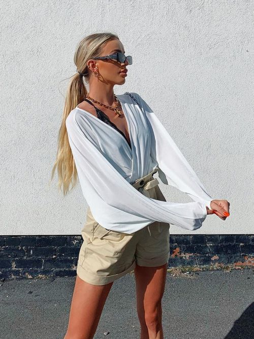 Ambrosia Wrap Front Shirred Batwing Top In Cream