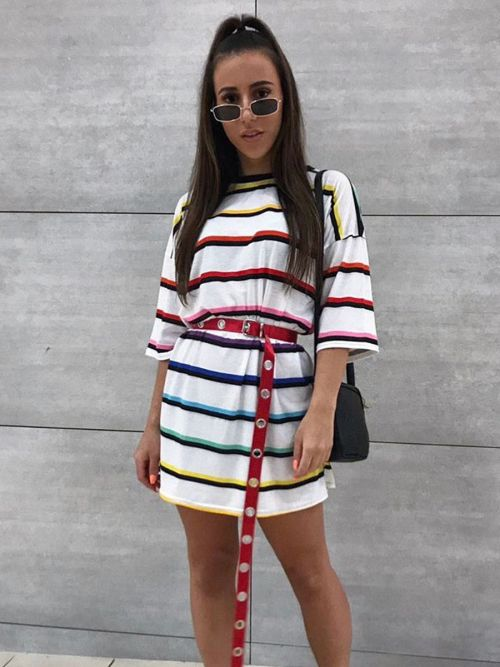 Dixie Striped Oversized Boyfriend Tee In Multi