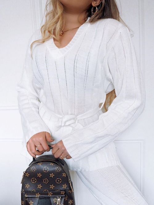 Sammie Ribbed Knitted Belted Loungewear Set In Cream