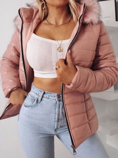 Siena Wet Look Faux Fur Hooded Jacket In Rose