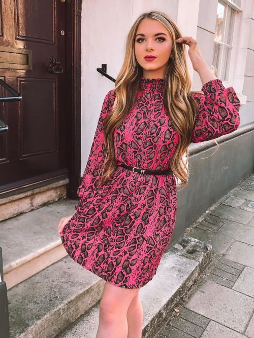 Deja Shirred High Neck Snake Print Shift Dress In Pink