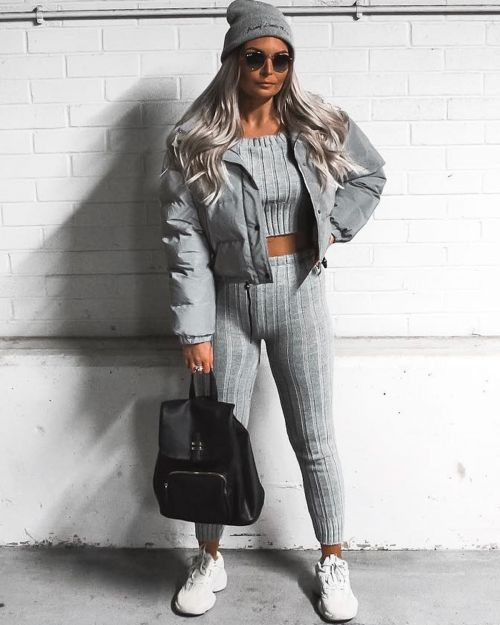 * Kady McDermott *Kalianna Ribbed Knitted Crop Top & Bottom Loungewear In Grey