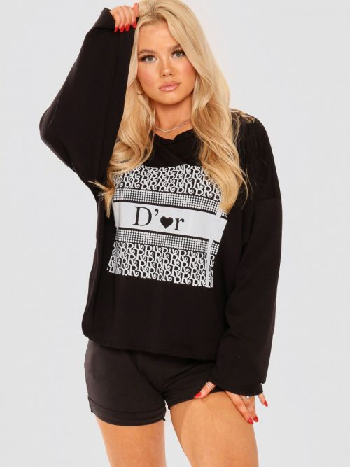 Kaitlin Tie Knot Back D'or Graphic Oversized Top In Black