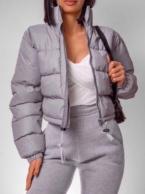 Kara Reflective Cropped Padded Puffer Jacket In Grey