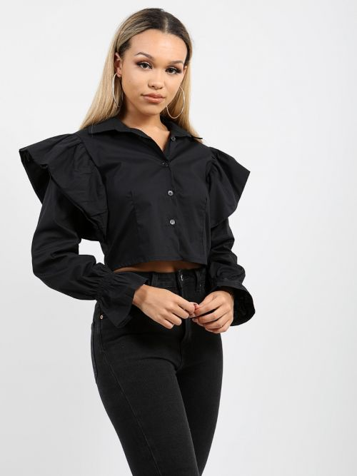 Faye Frill Shoulder Detail Shirt Top In Black