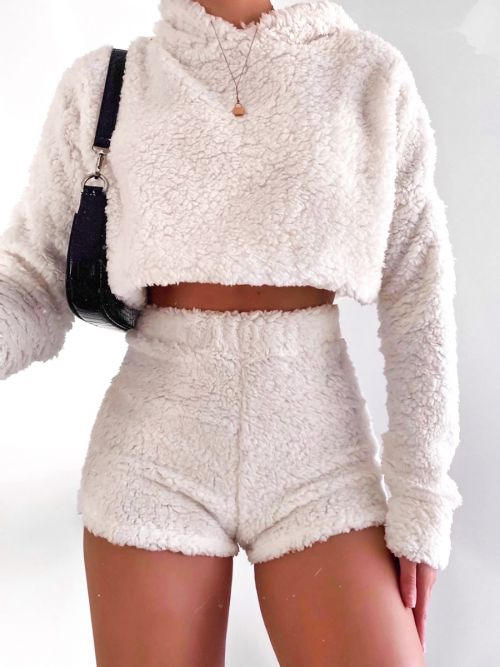 Sheila Teddy Bear Hoodie & Shorts Co-ord In Cream