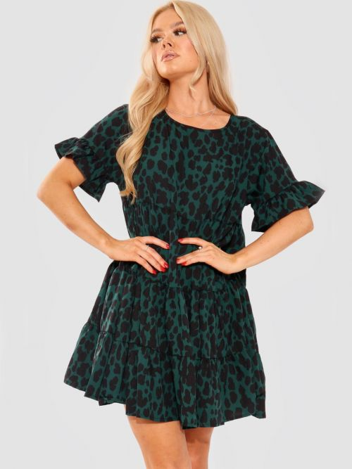 Thea Leopard Print Frill Tiered Smock Dress In Green