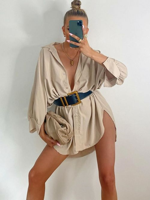 Julie Oversized Dip Hem Shirt Dress In Stone