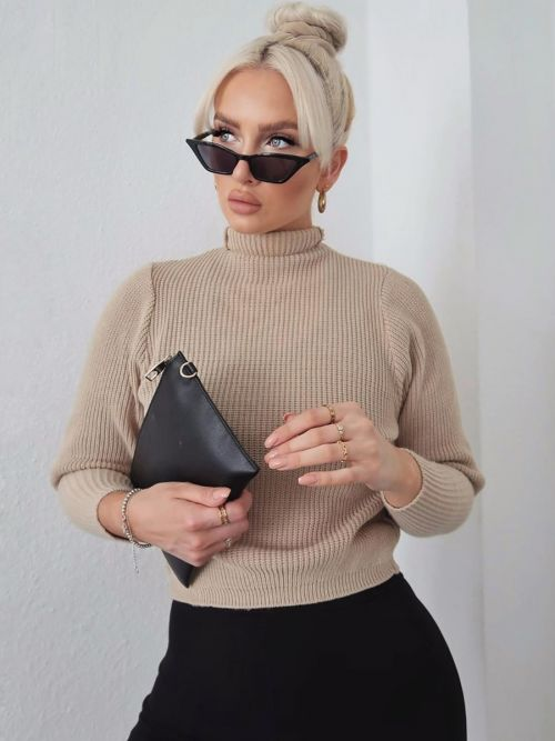 Winona Balloon Sleeve High Neck Knitted Jumper In Stone