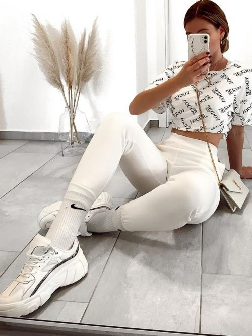 Katie Slim Fit Joggers In Cream