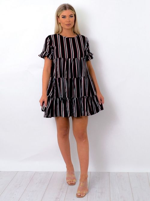 Jordan Striped Frill Detail Tiered Smock Dress In Wine